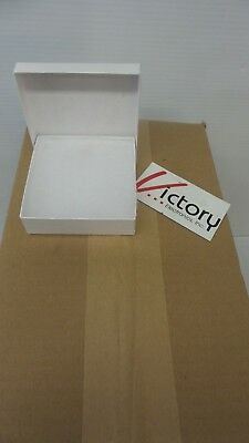 White Swirl Cotton Filled Jewelry Cardboard Boxes - lot of 100 - (3.5 x 3.5 x 1)