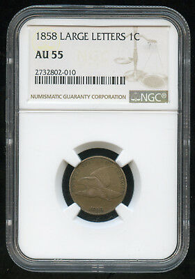 1858 Flying Eagle Cent Large Letters 1c NGC AU-55