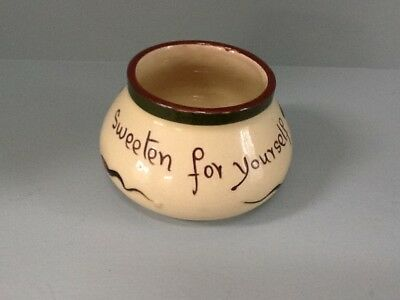 """ALLER VALE VINTAGE TORQUAY MOTTO WARE SUGAR BOWL """"Sweeten for yourself"""""""