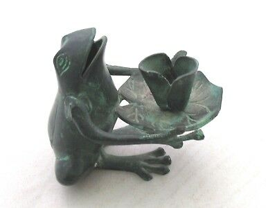 """Vintage Green Patina Brass/Bronze Frog With Lily Pad Candle Holder 4"""" Tall"""