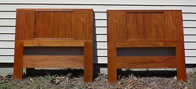 Vintage Pair Danish Modern Teak & Grass Cloth Double Sided Twin Bed Headboards