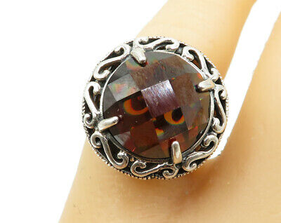 925 Sterling Silver - Faceted Hessonite Garnet & Marcasite Solitaire Ring R1619