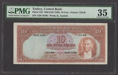 Turkey 1930 (ND 1938) P-128 PMG Choice VF 35 10 Lira