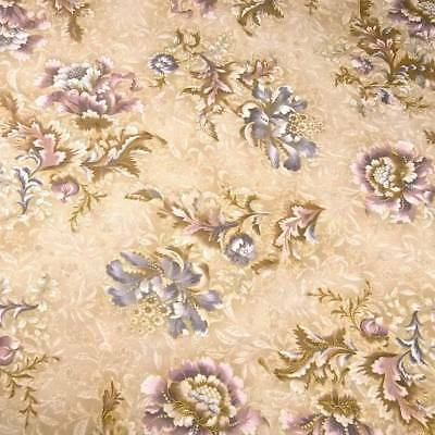 Gorgeous Floral in Purple Blue Metallic Gold on Cream; Cotton Fabric by Kaufman
