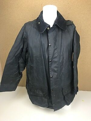 Mens BARBOUR Beaufort WAXED Jacket Navy Size 44 A10