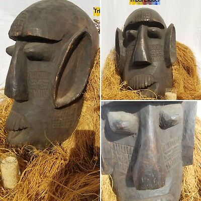 STUNNING HUGE Raffia Mask Figure Sculpture Statue Fine African Art