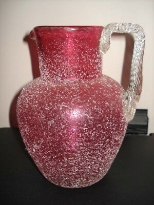 Large Antique Victorian Ruby Cranberry Overshot Glass Jug