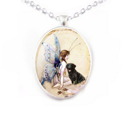 Cairn Terrier dog porcelain cameo Silver plated Pendant Handmade 40x30mm NEW