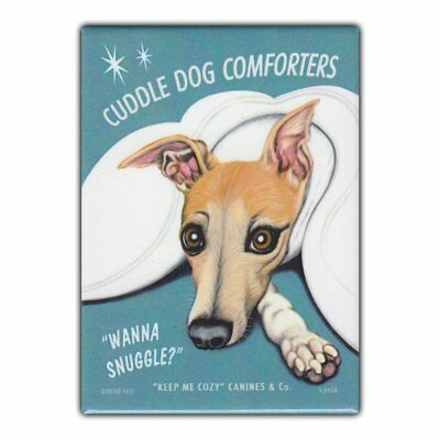 Retro Pets Refrigerator Magnet - Cuddle Dog Comforters, Whippet - Advertising