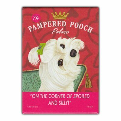 Retro Pets Refrigerator Magnet - Pampered Pooch Palace, Maltese - Advertising