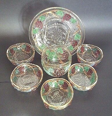 Glass Dish And Bowl Set With Raised Grape Pattern And Gilded Accents - 7 Pieces
