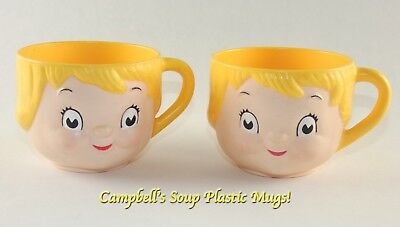 Vintage Campbells Kid Soup Dolly Dingle Plastic Character Face Mug Cups  PREUSED