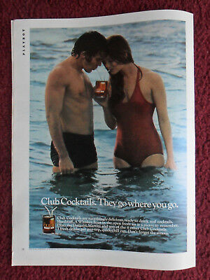 1971 Print Ad Club Cocktails ~ Couple Pretty Girl in Red Swimsuit WHISKEY SOUR