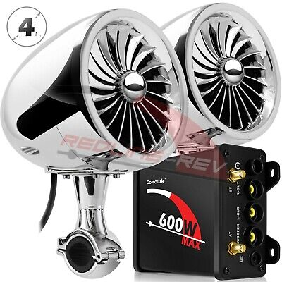 600W Amp Waterproof Bluetooth Motorcycle Stereo Speakers Audio System AUX Radio