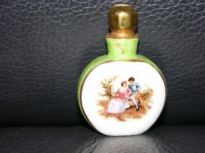 """Vintage Small Hand Painted Porcelain  Perfume Bottle, Made In Germany 2"""" Tall"""