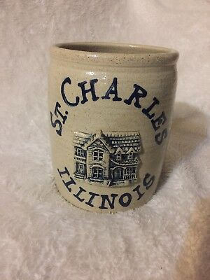Stoneware Crock St. Charles Illinois handmade In IL - Cute