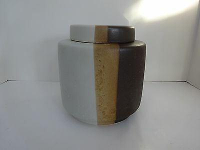 """Vintage McCOY Covered Canister/Cookie Jar #214 - 3 Colors Stripe, 7.5"""" Tall"""