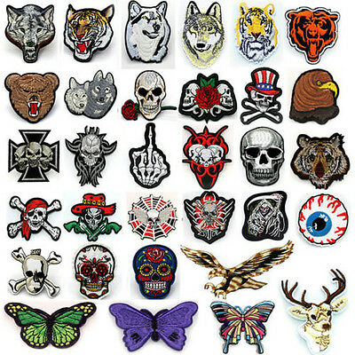 Embroidered Applique Iron On Patch Skeleton Wolf DIY Cloth Sewing Cool Badge new