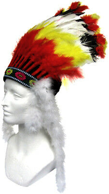 Native American Indian Chief Mens Costume Feathers Headdress