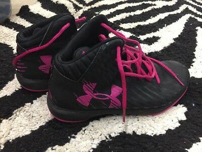 d1a5fdc90f7f06 Under Armour GGS JET Girls shoes size 7Y. Black And Pink High Top. Free