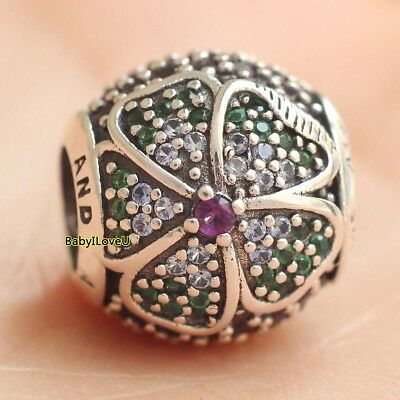 925 Sterling Silver Glorious Bloom Multi-Colored CZ Charm Bead Pave Fit Bracelet