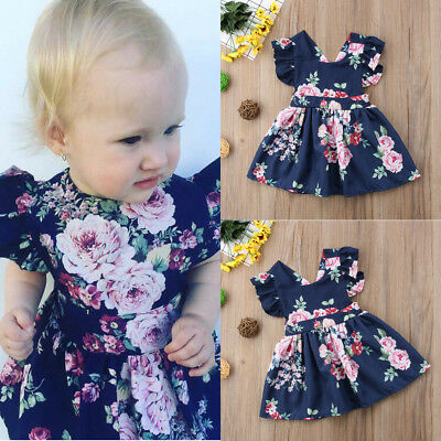 US Toddler Baby Kids Girls Dress Sleeveless Floral Skirt Outfit Set Clothes