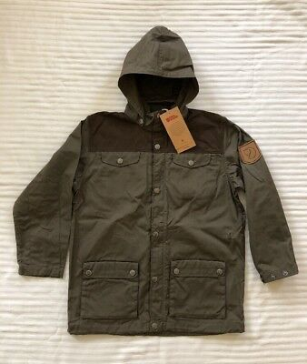 NEW FJALLRAVEN Greenland Jacket Kid's 128 (7-8) Tarmac Dk Olive G-1000 MSRP $125