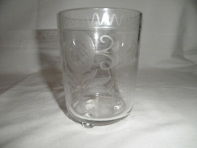 Antique Hand Blown Ball Footed Glass Beaker Etched Cup, Thistles