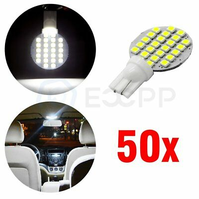 50x Ultra White T10 RV Landscaping 24-SMD LED Interior Light bulbs W5W 168 194