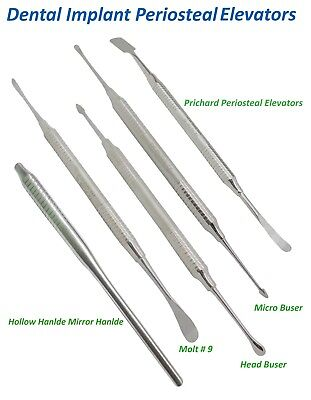 Dental Implant Periosteal Elevetors Molt 9 Prichard Micro Buser Hollow Handle CE