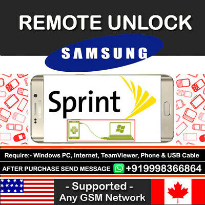 Samsung Galaxy Sprint S8/S8 Plus Note 8 S8+ Remote Unlock Service