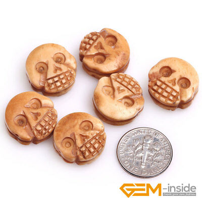 17mm Coin Buffalo Animal Bone Carved Cabochon Beads For Jewelry Making 12 Pcs YB