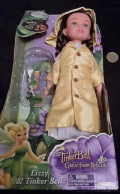 Rare Disney Tinkerbell and The Great Fairy Rescue Lizzy & Tinker Bell Doll New