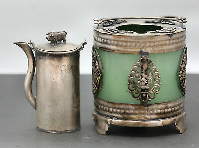 Magnificent Antique Chinese Silver & Jade Wine Pot & Warmer Marked On Base