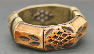 Stunning Antique Tibetan Handmade Buffalo Bone & Brass Bangle Circa 1900s