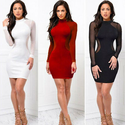 US Sexy Women Long Sleeve Bandage Bodycon Evening Party Cocktail Mini Dress