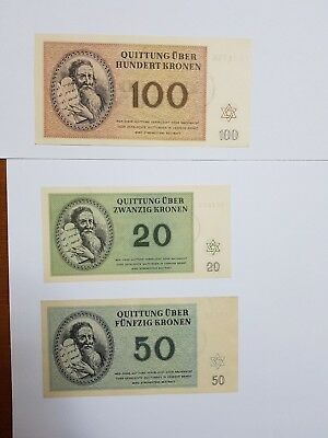 Theresienstadt Ghetto Set100,50,20,10,5,2,1 Kr   Concentration Camp