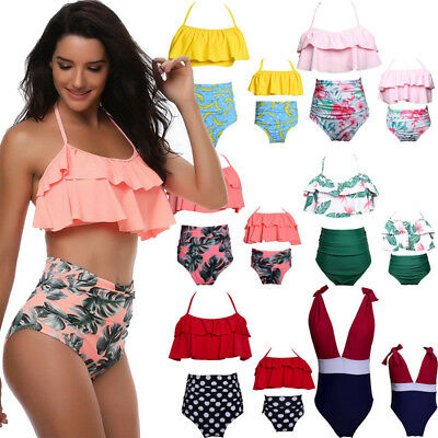US Stock Family Matching Swimsuit Mother Daughter 2Pcs Striped Swimwear Sets
