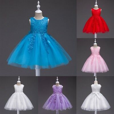Baby Girls Floral Lace Tutu Dresses Kids Wedding Bridesmaid Party Pageant Dress