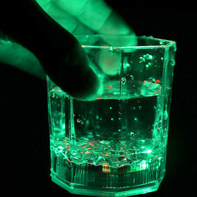7 Color LED Water Induction Flashing Luminous Light-Up Octagon Cup for Beer Bar
