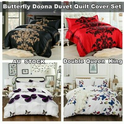 Butterfly Quilt Doona Cover Set Queen/King/Double Size Duvet Bed Pillowcase New