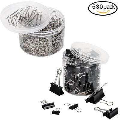 80PCS Binder Clamp Clips and 450PCS Paper Clips Organizers Assorted Two Sizes