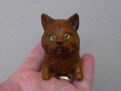 An Antique Carved Black Forest Cat Design Thimble Holder ? c1900
