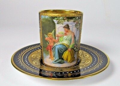 Royal Vienna Cup Saucer Porcelain Cabinet Antique Hand Painted Gilt Beehive #2