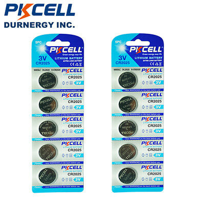 10x PKCELL CR2025 2025 DL2025 BR2025 3V Lithium Button Coins Cell Watch Battery