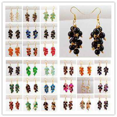 LX-117 Mixed Gemstone Round Beads Earrings Please Pick Your Stone!