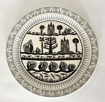 Vintage Scottie Wilson Dinner Plate. Palissy Pottery Royal Worcester c.1960s (A)