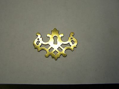 Vintage KEELER Chippendale Solid Brass Keyhole Cover Escutcheon Backplate-Ornate