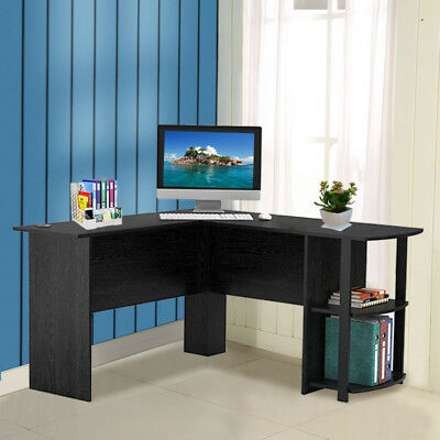 L-Shaped Computer Desk with 2 Storage Shelf Office Corner Workstation PC Table