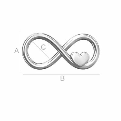 High Quality Sterling silver 925 Infinity sign with heart charms connector